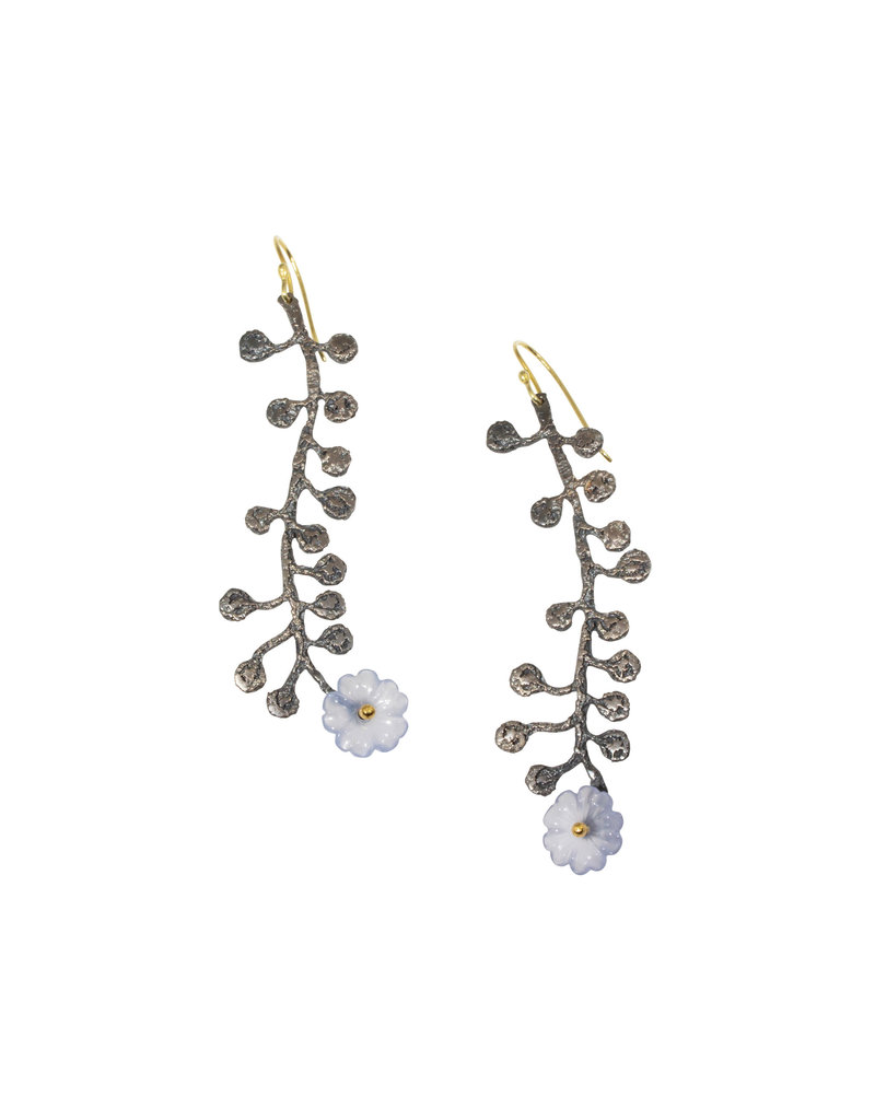 Mew Chiu Long Flower Earrings in Oxidized Silver with Chalcedony