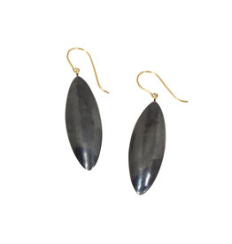 Oval Pod Earrings in Oxidized Silver with 18k Yellow Gold