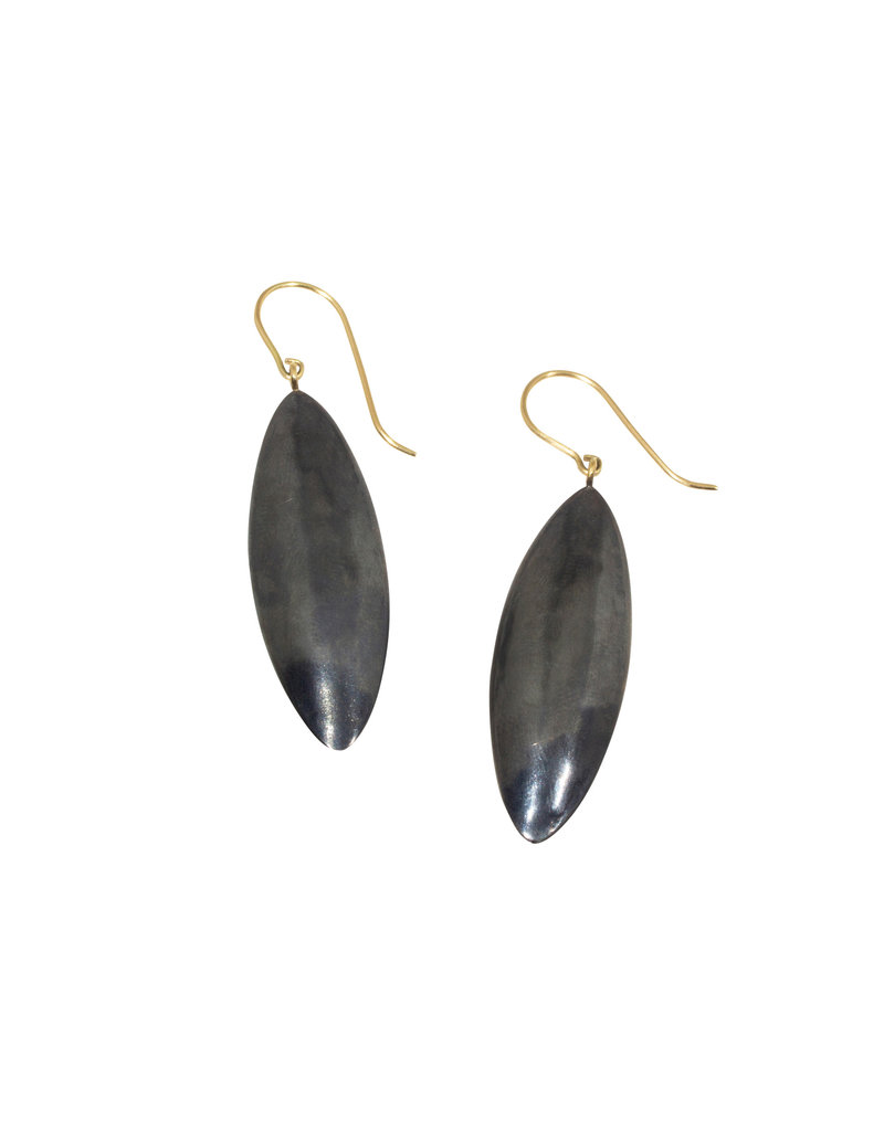 Mew Chiu Oval Pod Earrings in Oxidized Silver with 18k Yellow Gold
