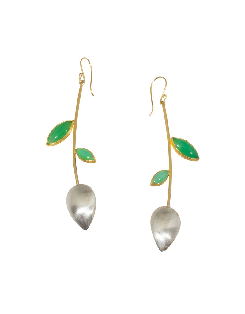Mew Chiu Teardrop Pod Earrings in Silver and 18k Yellow Gold with Chrysoprase and Peruvian Opal