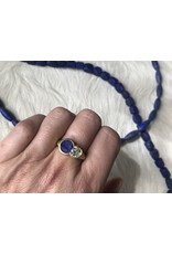 Custom Lapis and Diamond Ring in 22k Gold