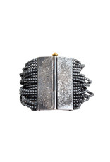 Custom Hematite Beaded Cuff Bracelet in Oxidized Silver and 18k Yellow Gold