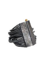CUSTOM Hematite Bead Bracelet with Diamond Mackles and 18k Yellow Gold