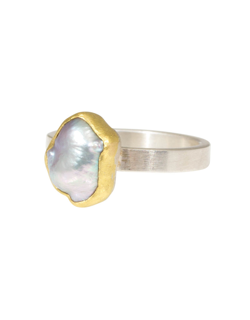Sam Woehrmann Grey Pearl Ring in Silver & 22k Gold