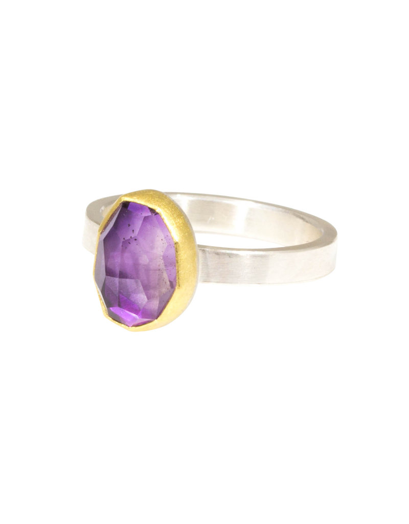 Sam Woehrmann Rosecut Oval Amethyst Ring in Silver & 22k Gold