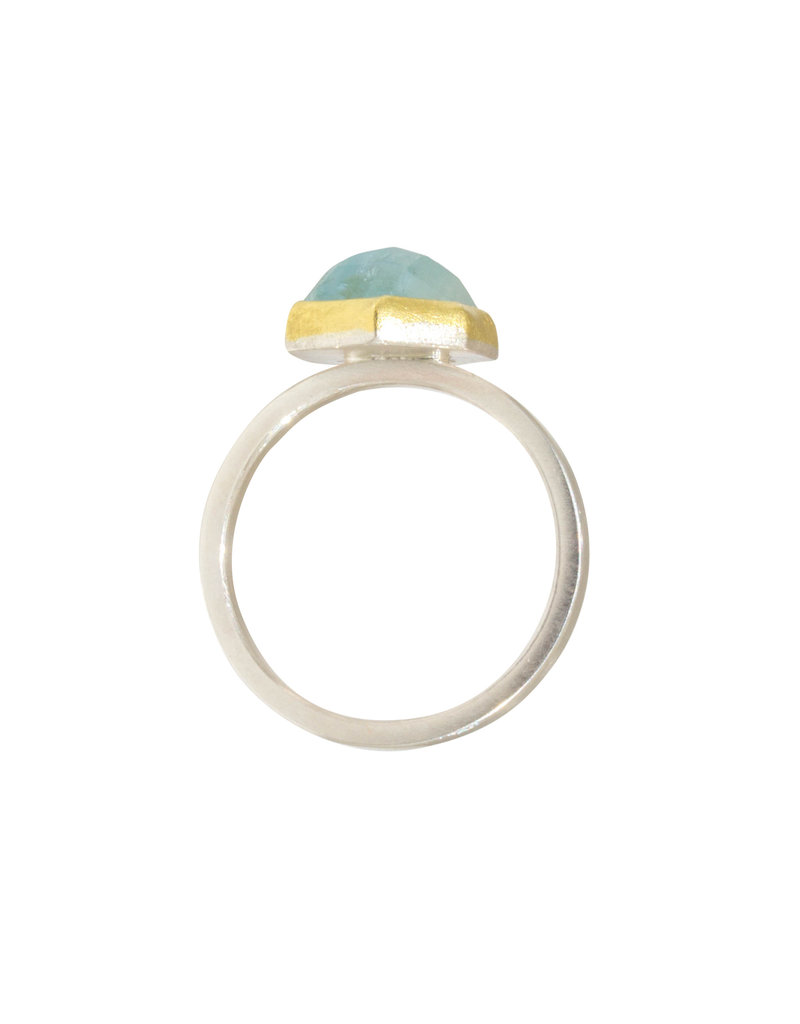 Sam Woehrmann Hexagon Aquamarine Ring in Silver & 22k Gold