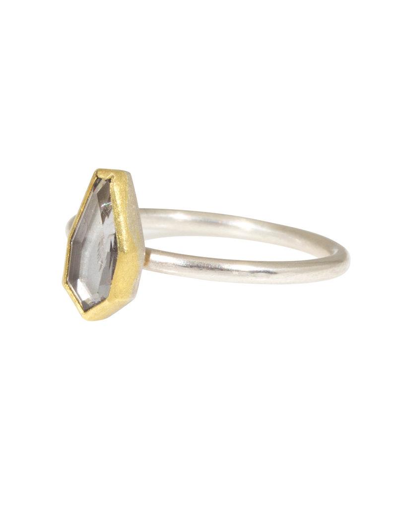 Sam Woehrmann Geometric Grey Spinel Ring in Silver & 22k Gold