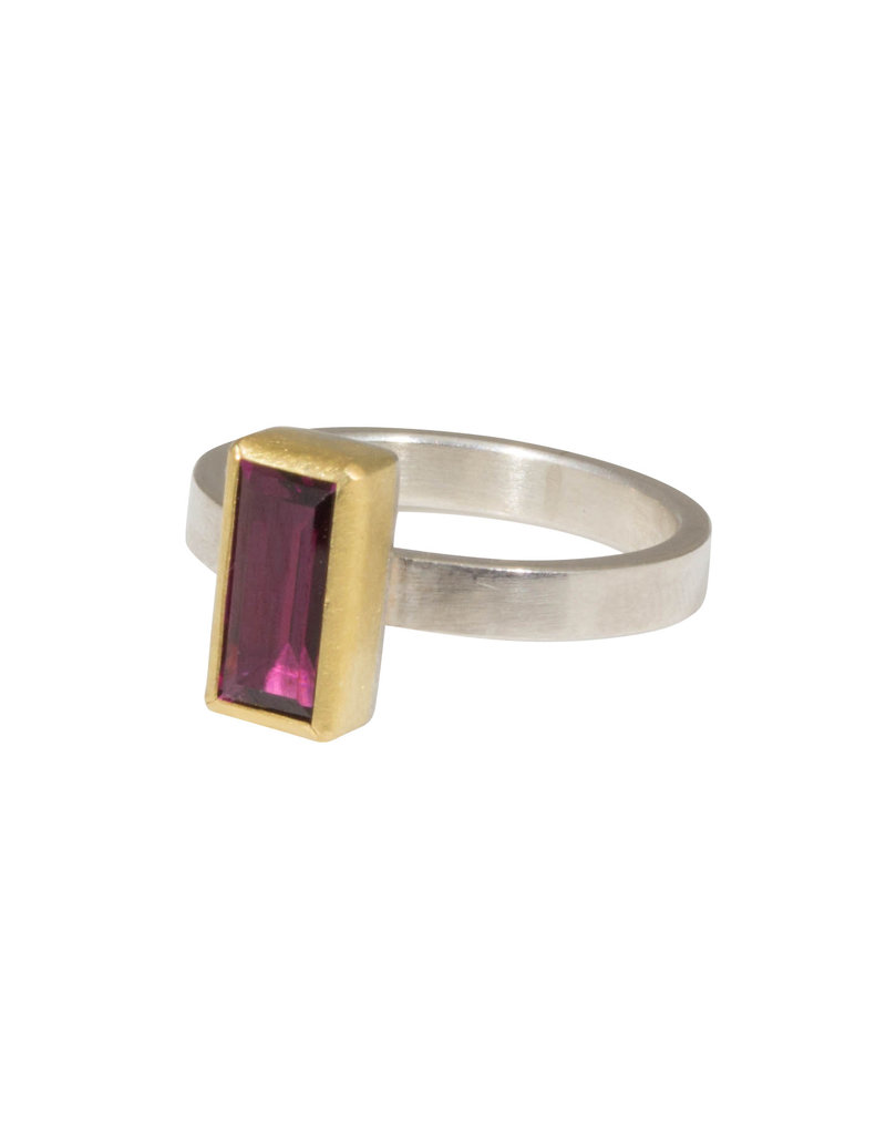 Sam Woehrmann Rectangle Rhodolite Garnet Ring in Silver & 22k Gold