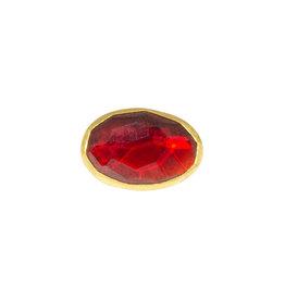 Sam Woehrmann Rosecut Oval Garnet Pin in Silver & 22k Gold