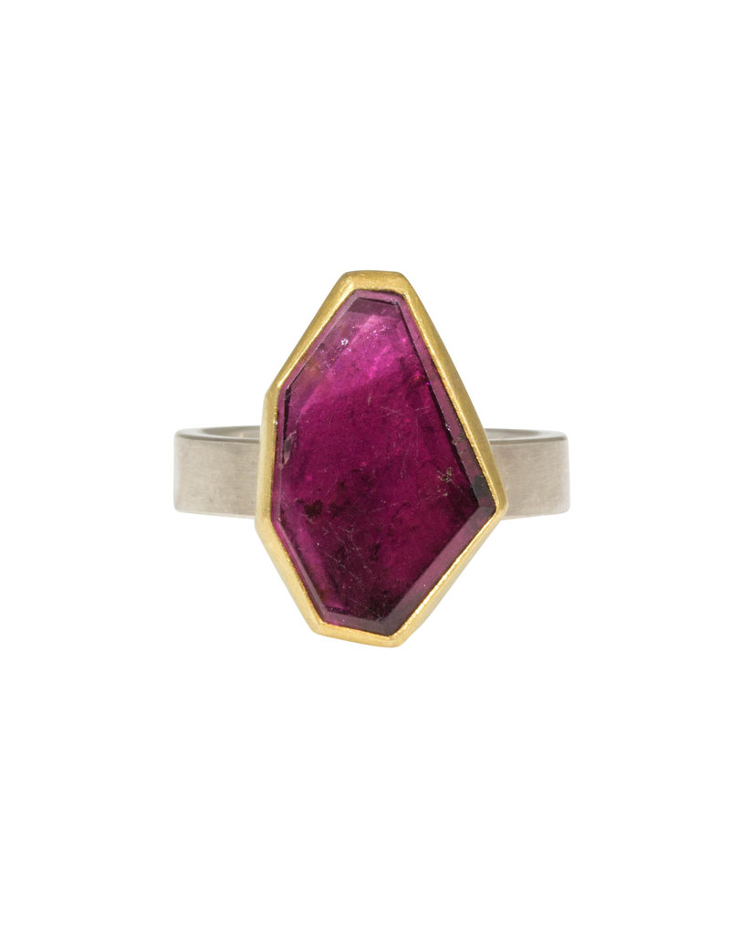 Sam Woehrmann Geometric Pink Tourmaline Ring in Silver & 22k Gold