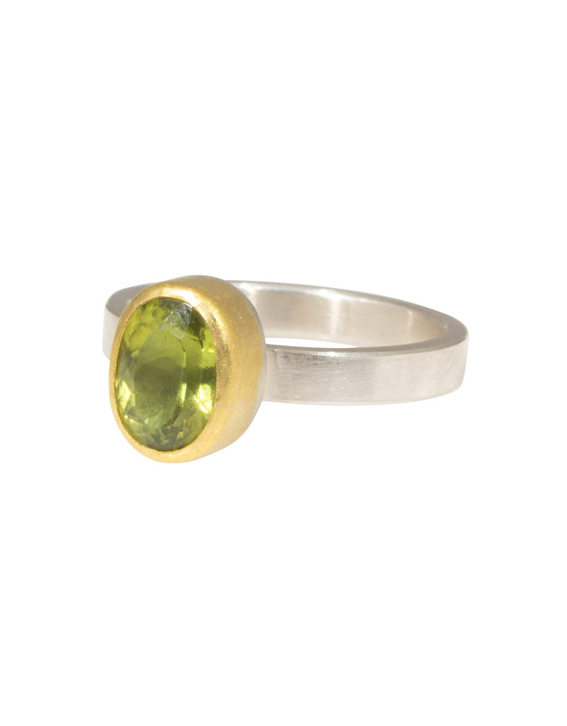 Sam Woehrmann Oval Peridot Ring in Silver & 22k Gold
