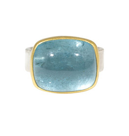 Sam Woehrmann Cushion Aquamarine Ring in Silver & 22k Gold