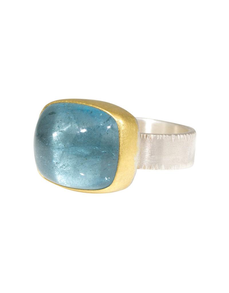 Sam Woehrmann Cushion Aquamarine Ring in Silver & 22k Gold