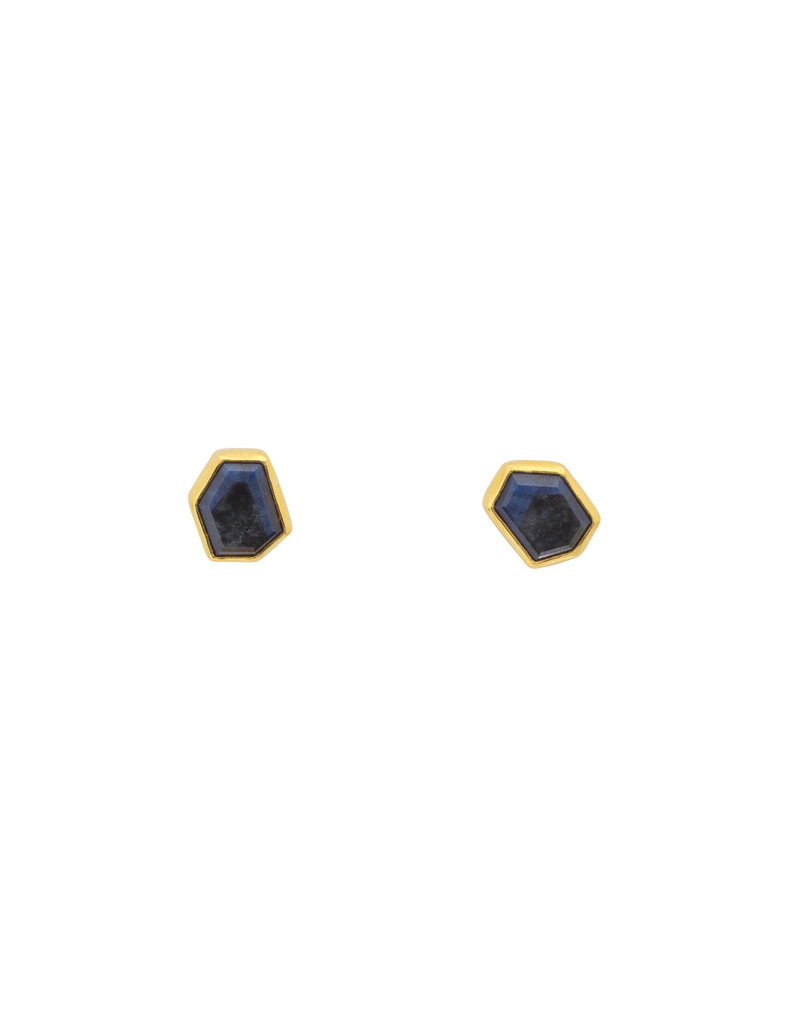 Sam Woehrmann Hexagon Sapphire Post Earrings in 18k & 22k Yellow Gold