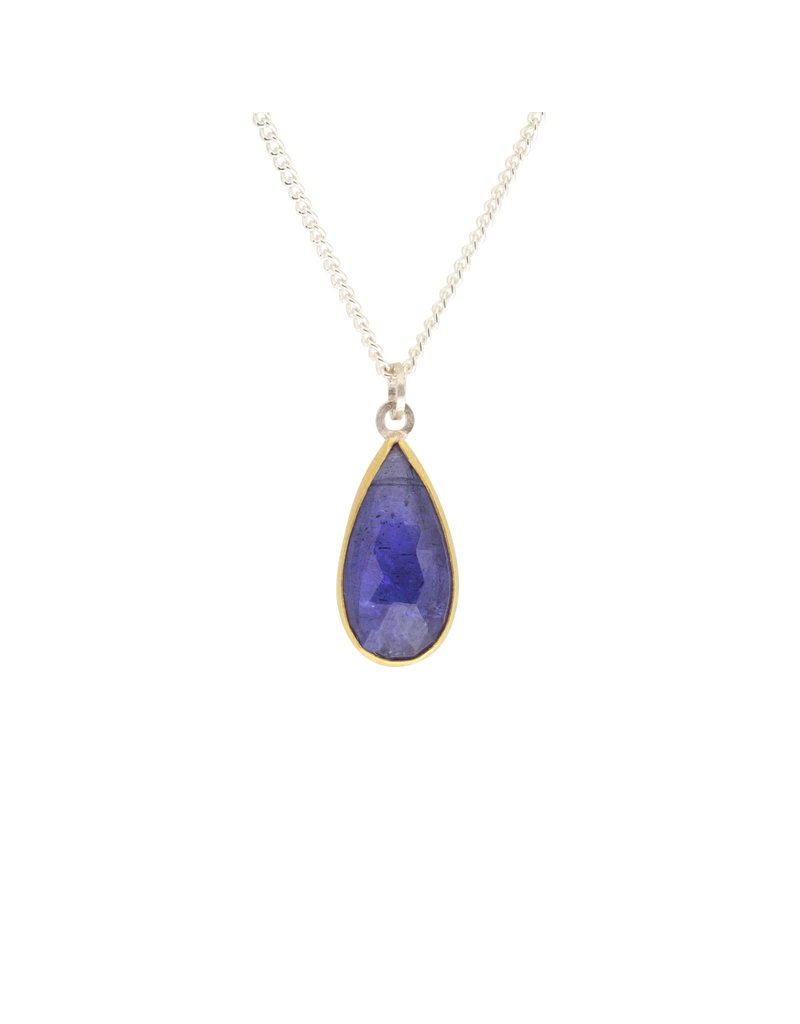 Sam Woehrmann Teardrop Tanzanite Pendant in Silver & 22k Gold