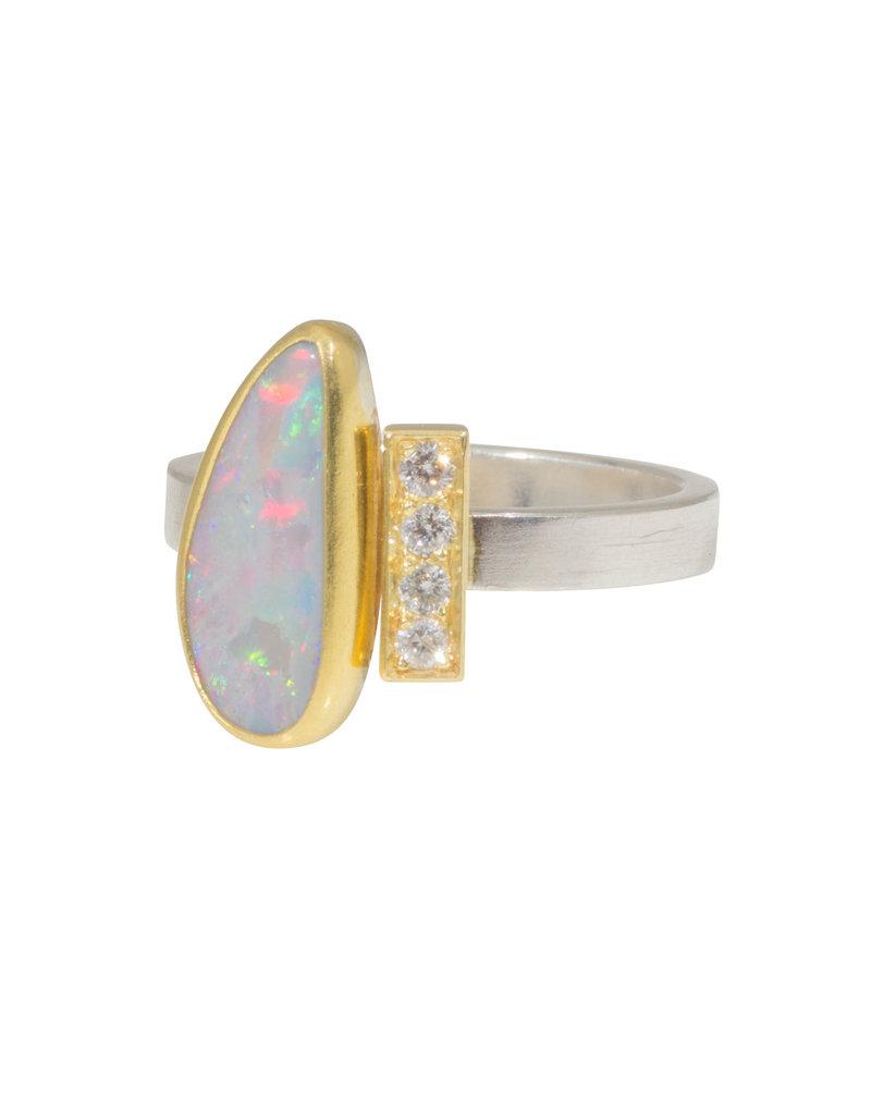 Sam Woehrmann Opal and Diamond Bar Ring in Silver, 18k & 22k Yellow Gold