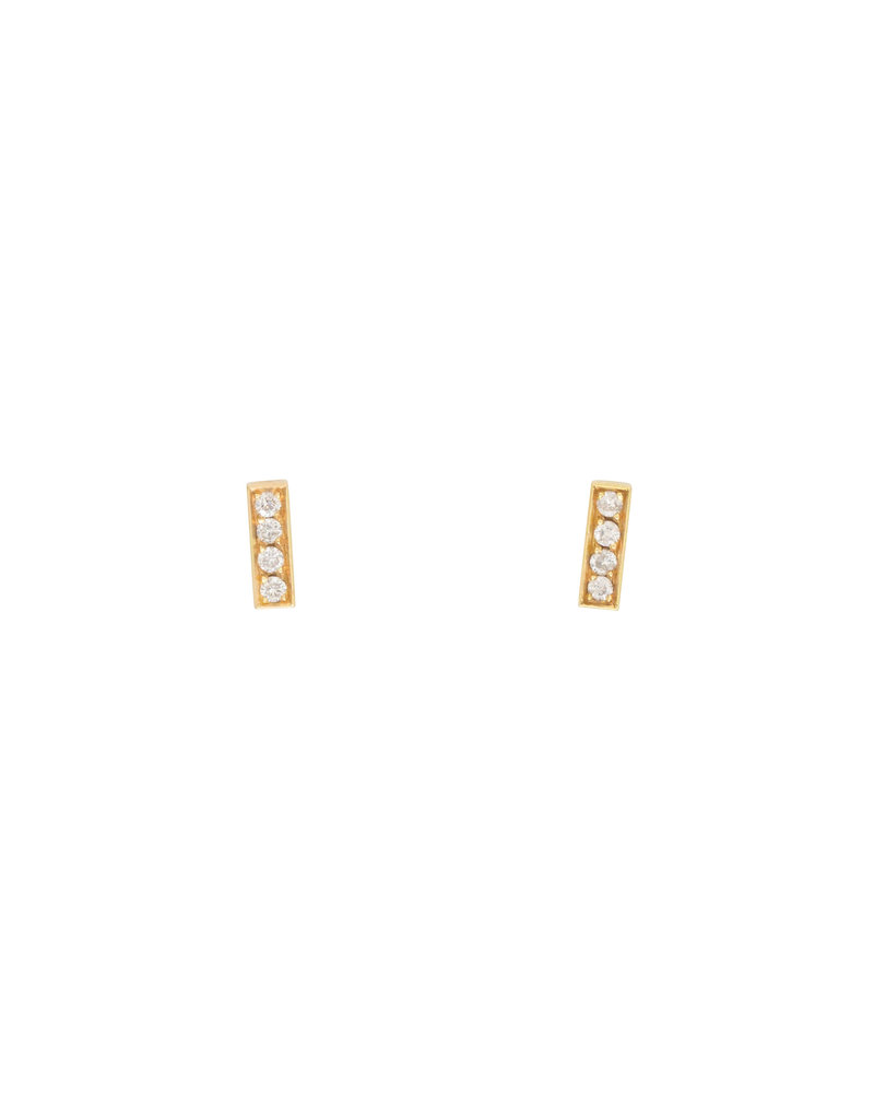 Sam Woehrmann Diamond Bar Post Earrings in 18k Yellow Gold