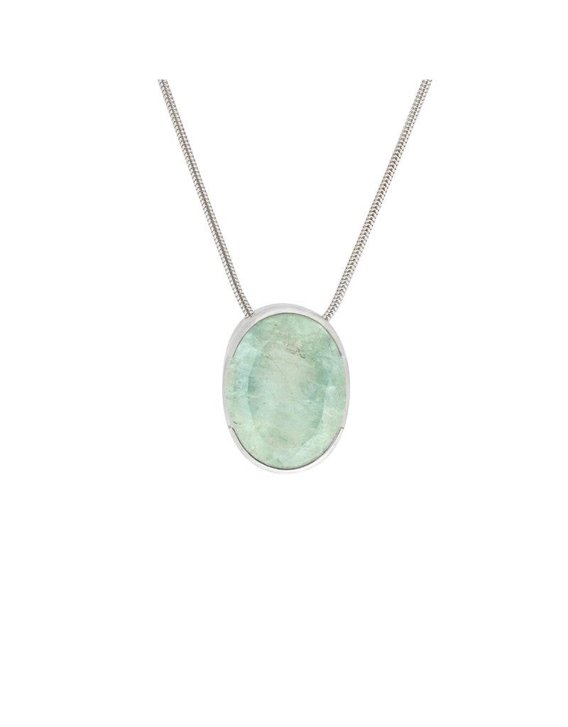 Sam Woehrmann Oval Aquamarine Pendant with Diamond in Silver