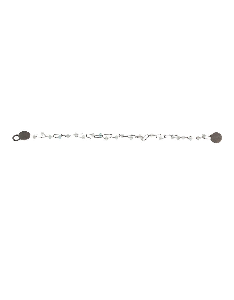 Delicate Constellation Bracelet with Aquamarine in Oxidized Silver