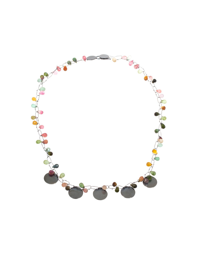 Delicate Constellation Necklace with Tourmaline in Oxidized Silver