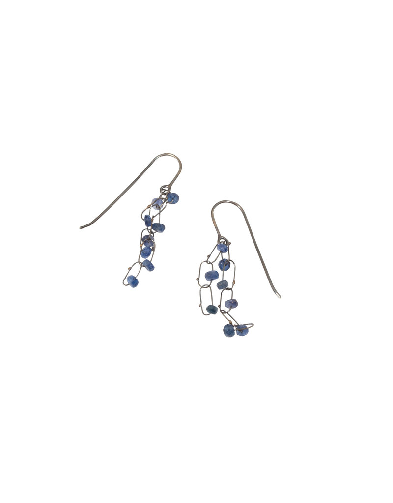 Delicate Short Line Constellation Earrings with Sapphires in Oxidized Silver