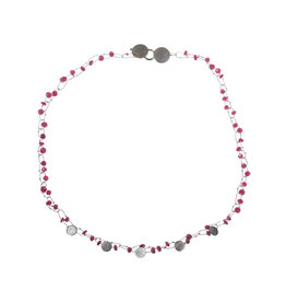 Delicate Mini Constellation Necklace with Rubies in Oxidized Silver