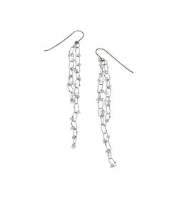 Delicate Line Constellation Earrings with Aquamarine in Oxidized Silver
