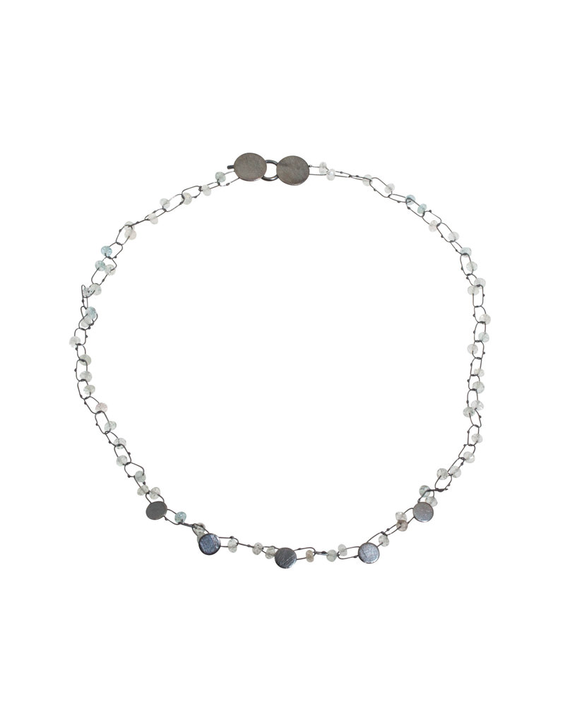 Delicate Mini Constellation Necklace with Aquamarine in Oxidized Silver
