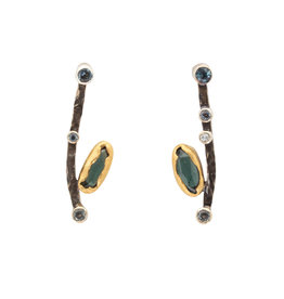 Julia Efimova Curved Bar Earrings with Tourmaline, Diamonds, and Sapphires in Oxidized Silver & 22k Gold