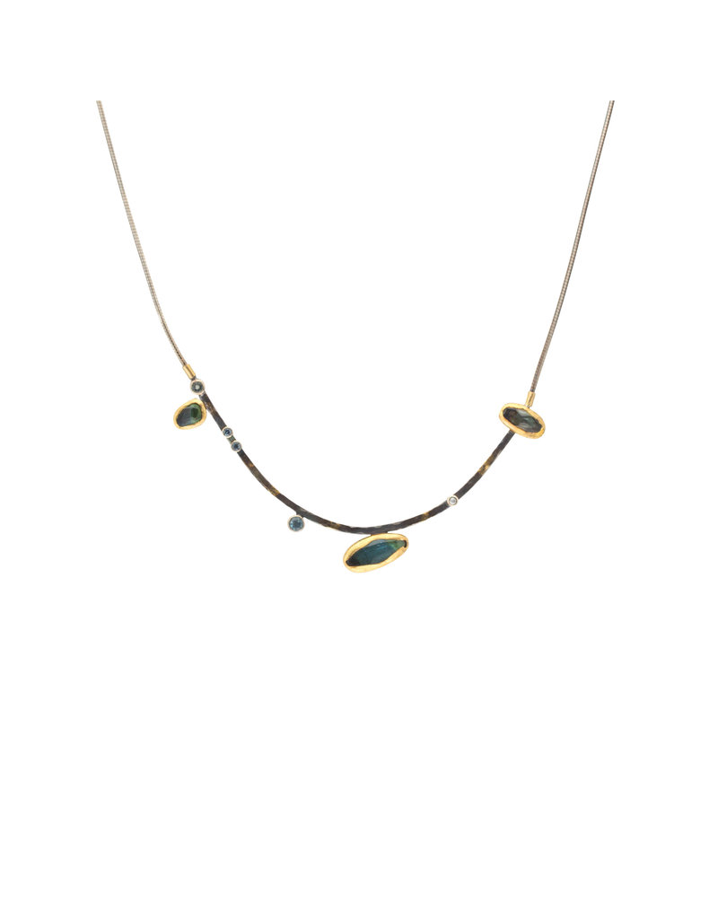 Curved Bar Necklace with Tourmaline, Diamonds, and Sapphires in Oxidized Silver & 22k Gold