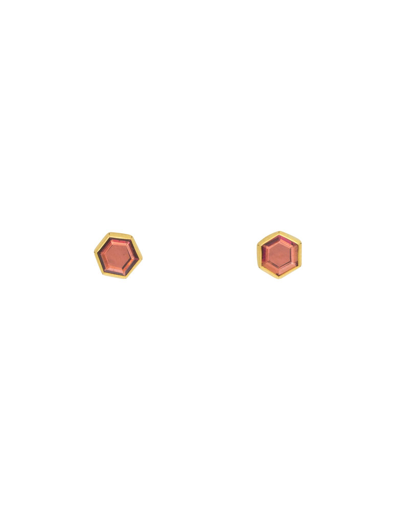 Hexagon Garnet Post Earrings in 18k Yellow Gold