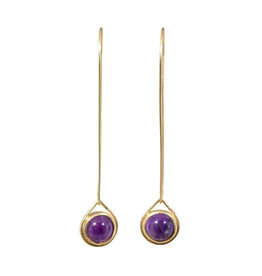 Amethyst Drop Earrings in 18k Yellow Gold