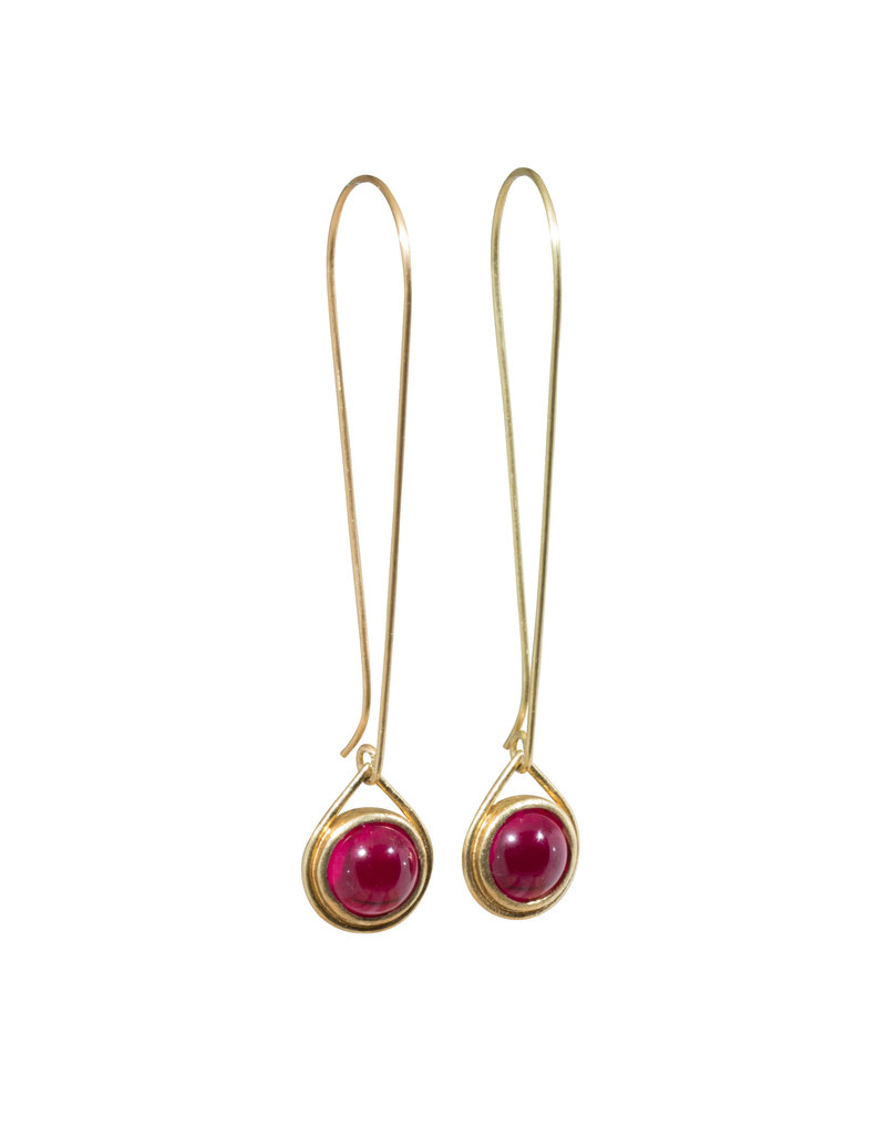 Ruby Drop Earrings in 18k Yellow Gold