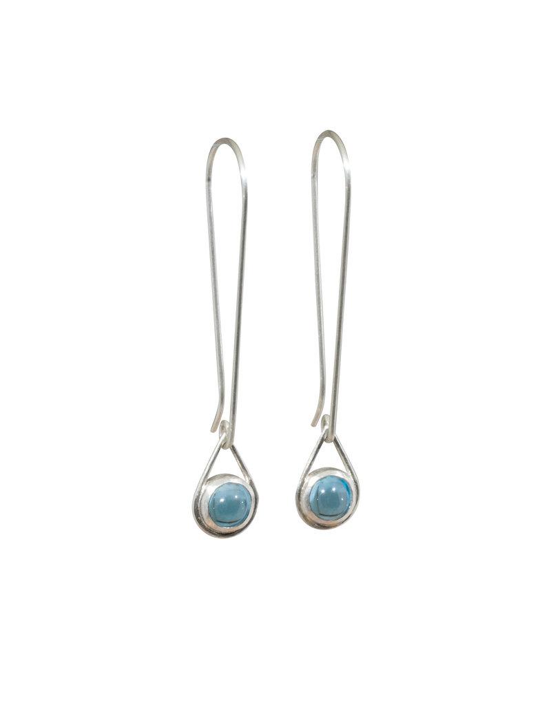 Small Topaz Drop Earrings in Silver