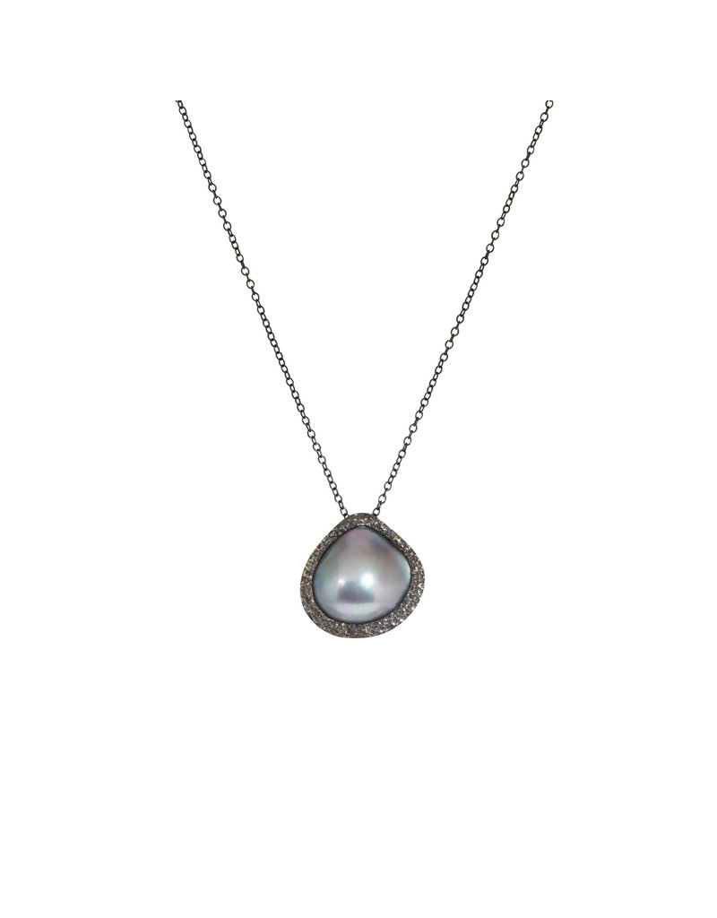 Mabe Pearl Pendant in Oxidized Silver