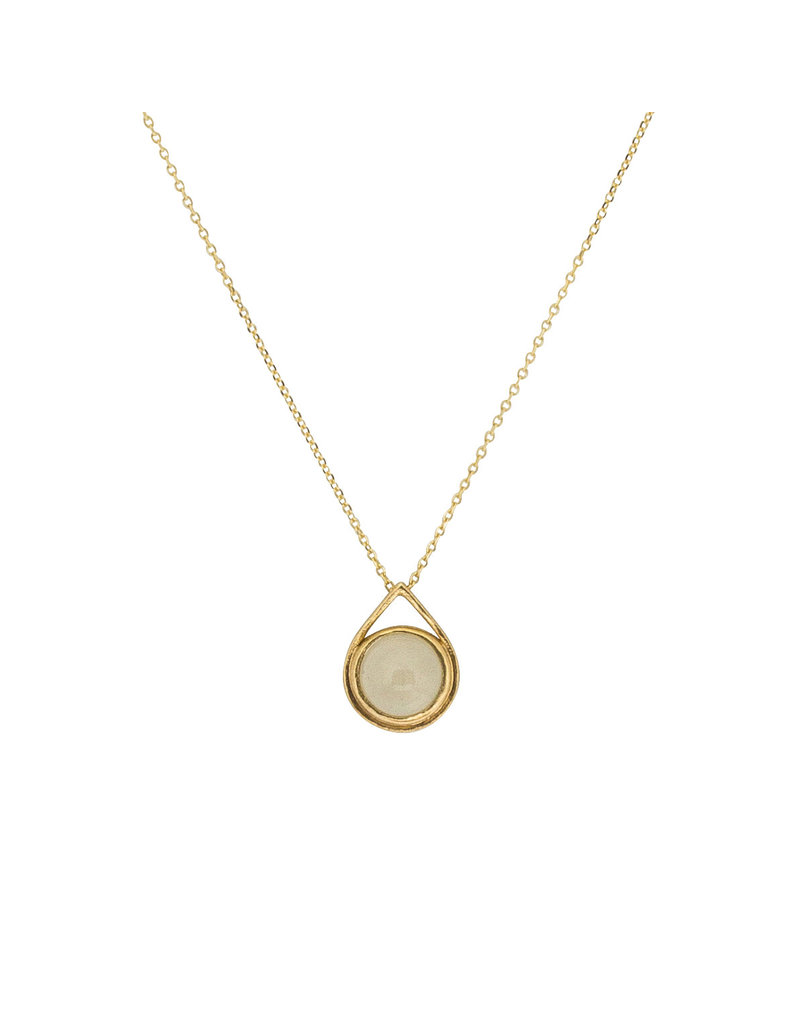 Moonstone Drop Pendant in 18k Yellow Gold