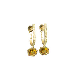 Oval Sapphire Drop Earrings in 18k Yellow Gold