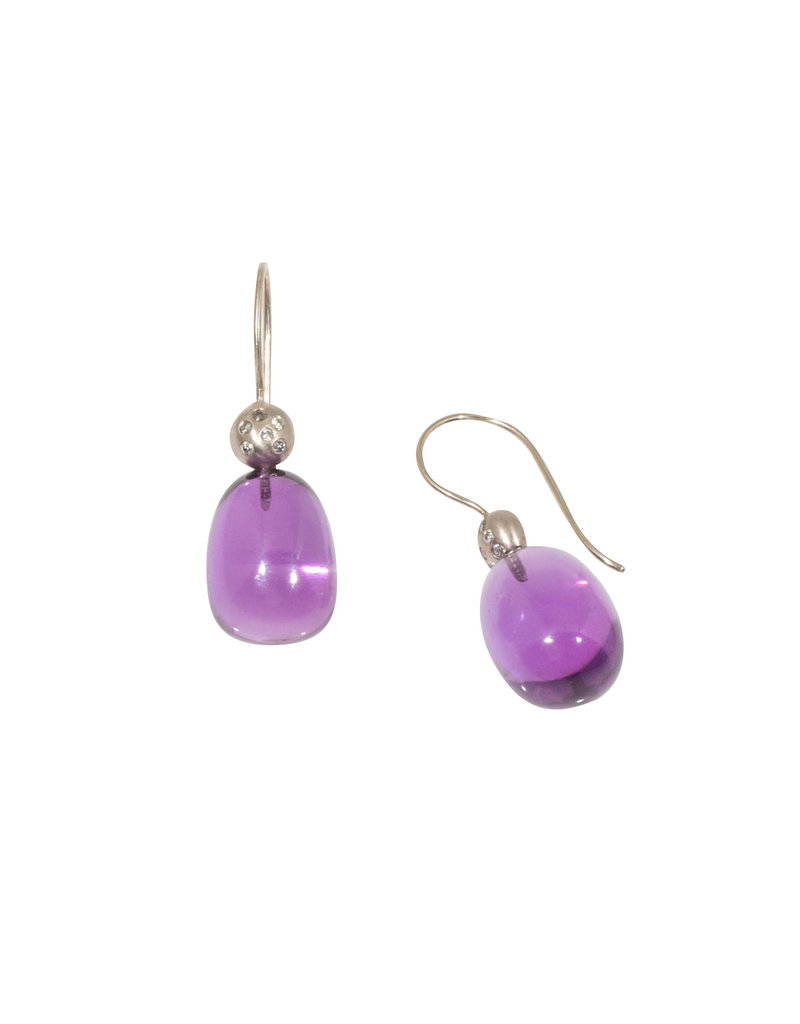 Amethyst Egg Earrings with Diamonds in 18k Palladium White Gold