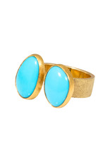Double Turquoise Ring in 18k Yellow Gold