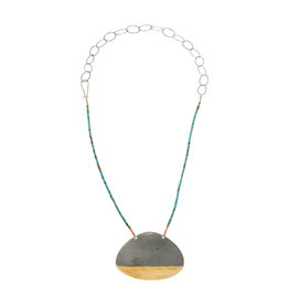 Teardrop Necklace in Silver and Brass with Turquoise Beads