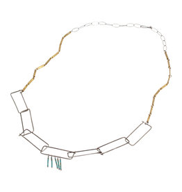 Rectangular Steel Chain Necklace with Brass and Turquoise Beads