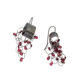 Round Hoop Loop Earrings with Garnet Beads in Oxidized Silver