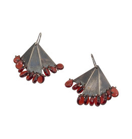 Triangle Garnet Earrings in Oxidized Silver