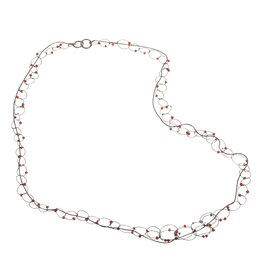 Long and Short Chain with Garnets in Oxidized Silver