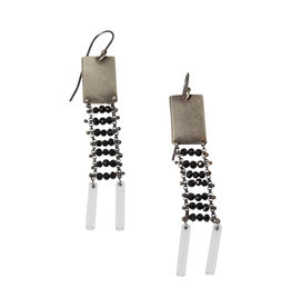 Square Black Spinel Earrings in Oxidized Silver