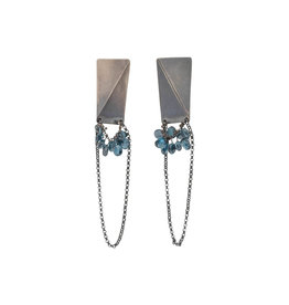 Folded Rectangle Post Earrings with Blue Topaz Beads in Oxidized Silver