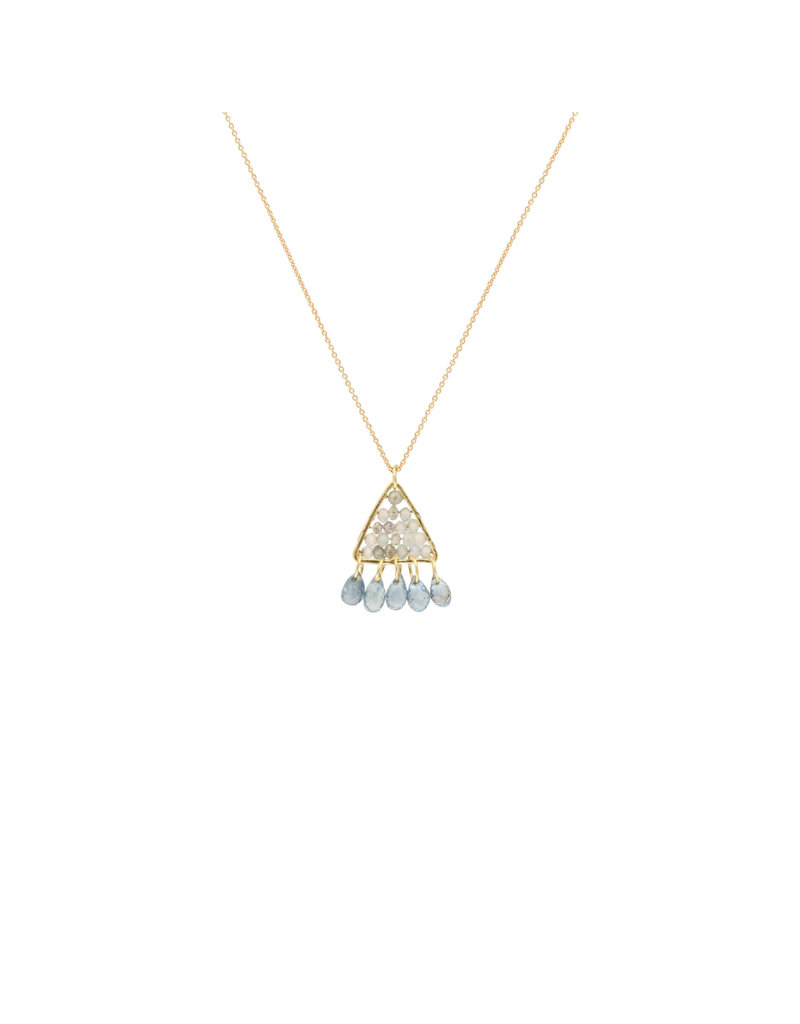 Pyramid Pendant with Grey Diamonds, White Zircon, and Blue Sapphires in 18k Yellow Gold