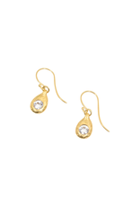 Organic Modeled Drop Earrings with White Sapphires in 18k Yellow Gold