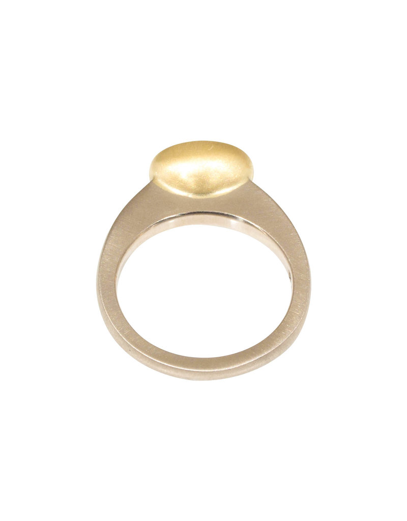 Raised Cup Oval Diamond Ring in 18k Palladium White Gold and Yellow Gold