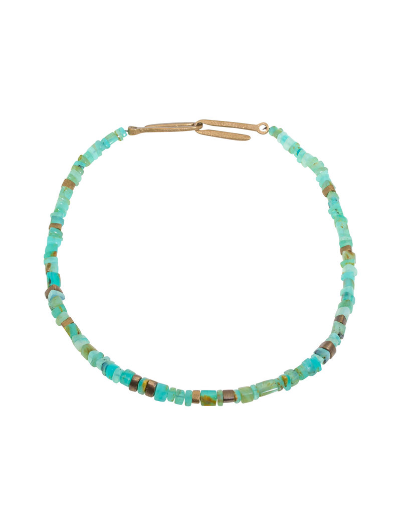 Peruvian Opal and Antique Bronze Necklace